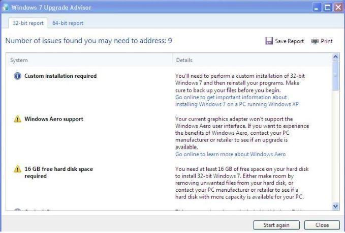 windows 7 upgrade advisor screen
