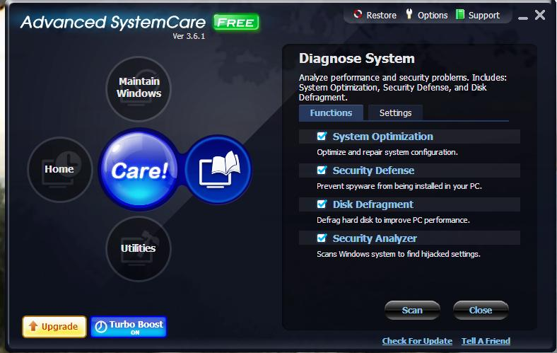 system care diagnose system