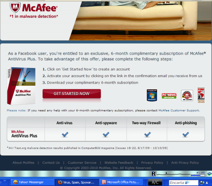 The features of the free McAfee AV