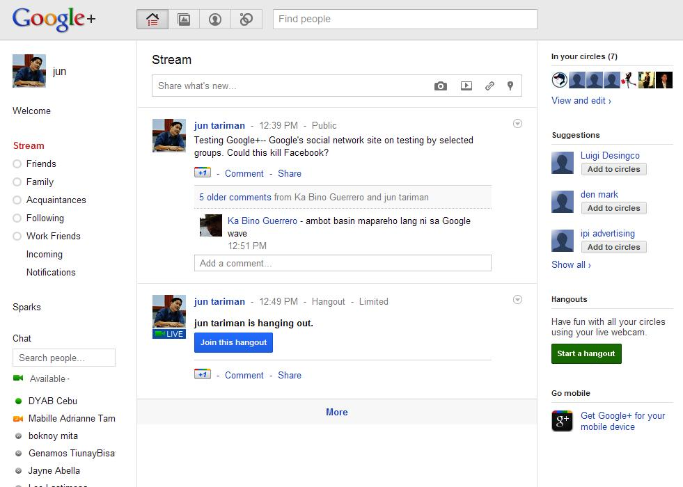 Google+ Screen shot