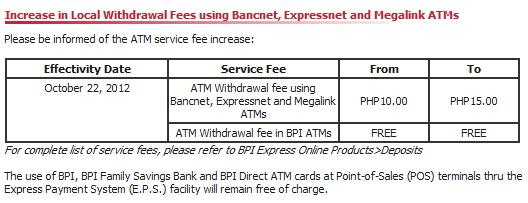 ATM Withdrawal Charge to increase