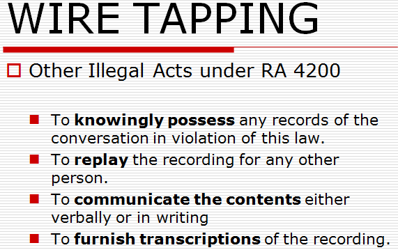wiretapping other illegal acts